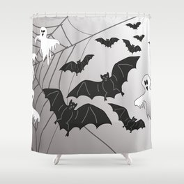 Ghosts and Bats Spiderweb Halloween Shower Curtain