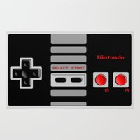 nintendo Area & Throw Rugs featuring Nintendo Controller by Janismarika
