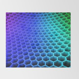 3D Colorful Honey Comb Hexagon Pattern Ultra HD Throw Blanket