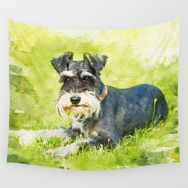 Miniature Schnauzer Watercolor Digital Art Wall Tapestry