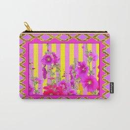 Decorative Pink-Yellows Hollyhock Garden Design Carry-All Pouch