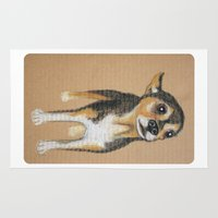chihuahua Area & Throw Rugs featuring Chihuahua by PaperTigress