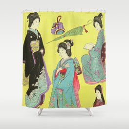 Japanese Art Print - Flowers of the City Shower Curtain