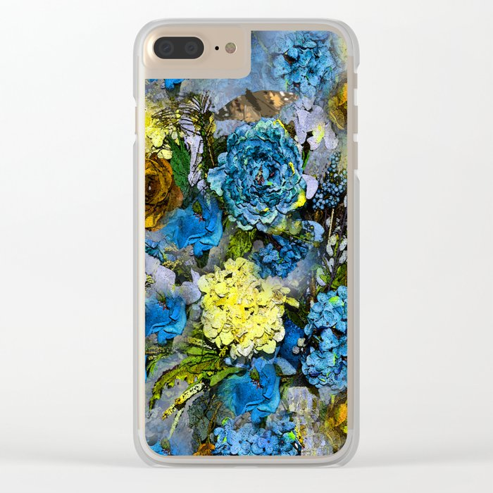 HYDRANGEA AND ROSES Clear iPhone Case