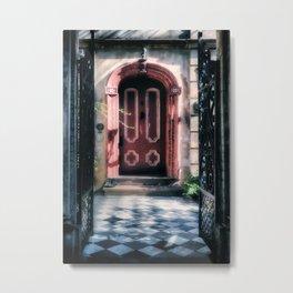 Behind The Red Door Metal Print