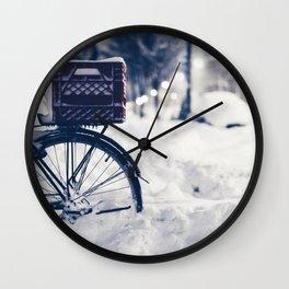 Milk Crate on Bike in Snow Wall Clock