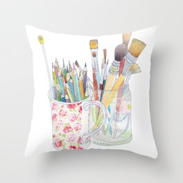 Art Tools: pencils and brushes (ink & watercolour) Throw Pillow