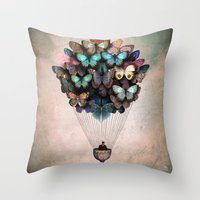 butterflies Throw Pillows featuring Dream On by Christian Schloe