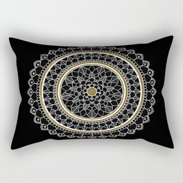 Black and Gold Mandala Rectangular Pillow