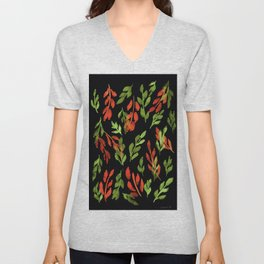 180726 Abstract Leaves Botanical Dark Mode 1|Botanical Illustrations Unisex V-Neck