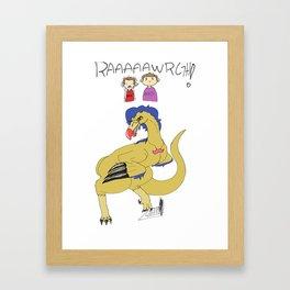 Dinosaur behind the keyboard Framed Art Print