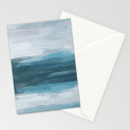 Teal Ocean Blue Gray Abstract Nature Art Painting Stationery Cards