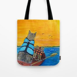 Cats in a boat watching dolphins Tote Bag