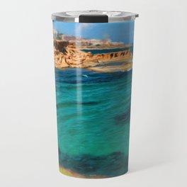 Digitally altered Seascape of Mediterranean sea Travel Mug