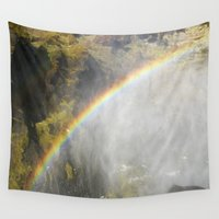 iceland Wall Tapestries featuring A Rainbow in Iceland by Poppington Prints