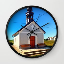 A village chapel with excessive powerlining Wall Clock