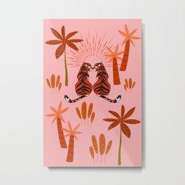 Tiger Love - Summer Blush Metal Print