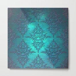 Turquoise Blue Damask Metal Print