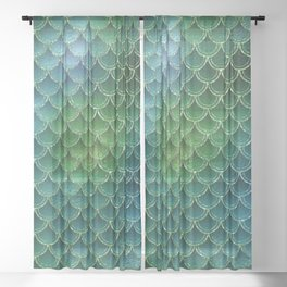 Mermaid Scales Ombre Glitter 6 Sheer Curtain