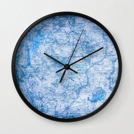 Blue Shimmer Map Design Wall Clock