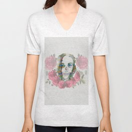 girl and flowers color Unisex V-Neck