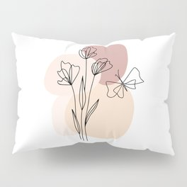 Minimal Line Art Flowers And Butterfly Pillow Sham