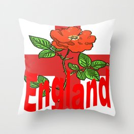 St George Flag With English Rose For England Fans Throw Pillow