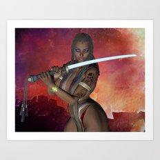 Samurai Warrior sword girl Art Print
