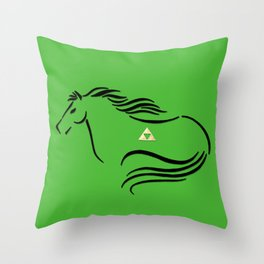 Epona with Triforce Stylized Inking Throw Pillow