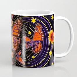 SUNFLOWER FIREWORKS MONARCH BUTTERFLIES ART Coffee Mug