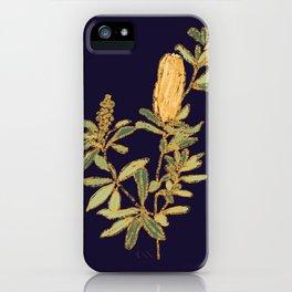 Banksia on Indigo Blue Botanical Illustration iPhone Case