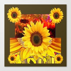 KHAKI COLOR MODERN YELLOW SUNFLOWERS ABSTRACT Canvas Print