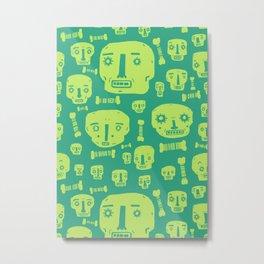 Skulls & Bones I - Green Metal Print