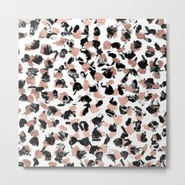 Modern faux rose gold marble brushstrokes dots pattern Metal Print