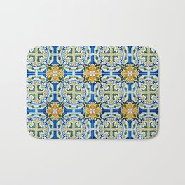Seamless Floral Pattern Ornamental Tile Design : 2 - Blue, yellow Bath Mat