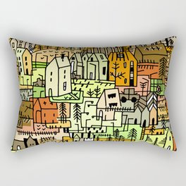 Doodle Crazy village town illustration Autumn  Rectangular Pillow