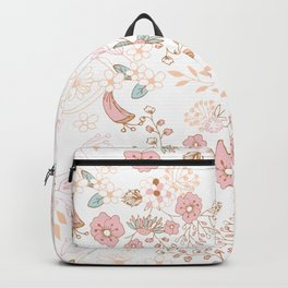 Abstract modern pink teal white pastel rustic floral Backpack