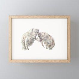 Manatees in love Framed Mini Art Print