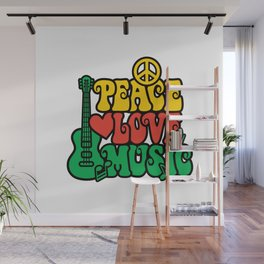 Reggae Peace Love and Music Wall Mural