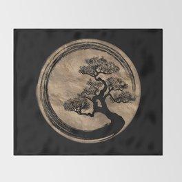 Enso Zen Circle and Bonsai Tree Gold Throw Blanket