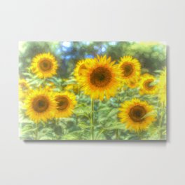 Watercolour Sunflowers Metal Print