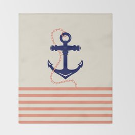 AFE Navy Anchor and Chain Throw Blanket