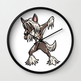 Funny Dabbing Chinese Crested Dog Dab Dance Wall Clock