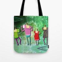 katamari Tote Bags featuring Katamari Cousins Set by cakeisforrobots