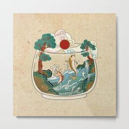 Minhwa: Jumping Carps Terrarium A Type (Korean traditional/folk art) Metal Print