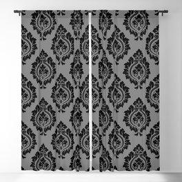 Decorative Damask Pattern Black on Gray Blackout Curtain