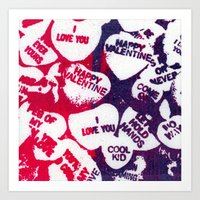 valentine love hearts Art Print