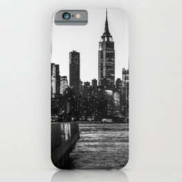 New York City Skyline in Black and White iPhone Case