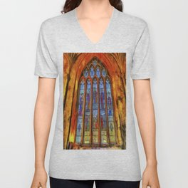 Stained Glass Window Van Gogh Unisex V-Neck