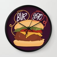 burger Wall Clocks featuring Burger! by Chelsea Herrick